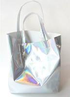 Free shipping  new 2013 STAR street snap wave laser dazzle colour bag shopping bag handbag single shoulder bag laser mail bag