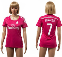 #7 Ronaldo real madrid away blue soccer football jersey for lady , women shirt