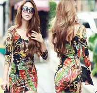 Ladies' V-Neck Sexy Party Club Cotton Dress Spring And Autumn Long Sleeve Flowers Print Casual Mini Dresses For Women