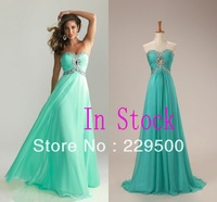 Free Shipping In Stock Size 2 4 6 8 Sweetheart A-Line Chiffon Crystal Beads With Key Hole Prom Dress Evening Dresses