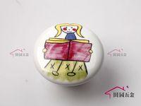 Cartoon Cute Handle Girls and Book Door Cabinet Drawer Ceramic Knob Pulls MBS038-1