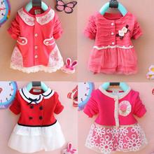Kids clothes new 2014 autumn Girls long-sleeved t-shirt Girls baby dress kids clothing dress chiffon top children's lace flower(China (Mainland))