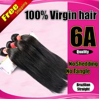 6A Brazilian Virgin Hair Straight unpocessed Hair Weaves 3pcs/lot Natural Color Cheap Human Hair ms lula Free Shipping No Tangle