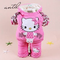 New arrival girls Hello kitty thick warm cotton-padded tops+pants two pcs suit baby clothes free shipping 3 color