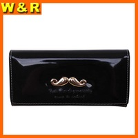 Candy color designer patent PU mustache woman wallet