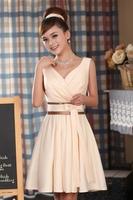 Fashion bride short design bridesmaid dress skirt champagne color V-neck formal dress short skirt marriage design wedding dress