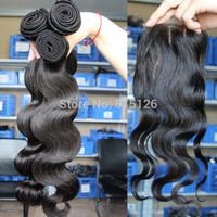 Unprocessed Brazilian virgin hair body wave 3pcs hair bundles with 1pc three part lace closure,4pcs lot Queen hair products