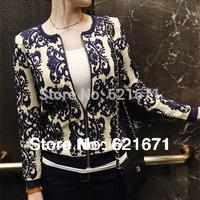 2014 Autumn Women Vintage Fashion Porcelain Print Jacquard Weave Long Sleeve Zipper Jacket Coat Cardigan S/M/L/XL/XXL Plus Size