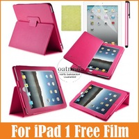 Smooth Surface PU Leather case for iPad 1 1st Magnetic Flip Leather Cases Sleep Wake Smart Cover with Build in Stand Case