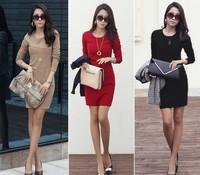 Long Sleeve Dress for Autumn Winter Fashion Slimming Dress S-XL 4 Sizes 3 Colors Slim Fit Blouse Base Shirt 1PCS Free Shipping