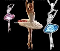 Dancing Ballet Girl's Pendant Necklace,Delicate Austrian Crystal Jewelry,18K Gold.FreeShipping,Wholesale 2pcs 19%OFF,CN035