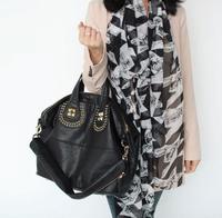 2014 NEW Women Rivet Large capacity Brand Designer Genuine Leather handbag Fashion Cowhide shoulder bag girl/ladies black B297
