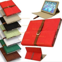 Wholesale  Belt + Buckle Premium PU Leather Smart Flip Case Cover For Apple iPad Air  5th
