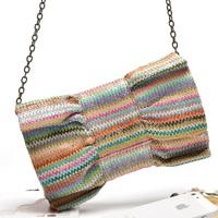 2013 New Rainbow Color Weaved Bow Cross-body Bag,Women's Messenger Bag,Evening Bag,Party Bag,Clutch,Shoulder Bag,Beach Bag