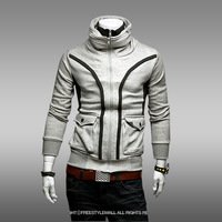 Spring and Autumn Men's Double Collar Double Zipper Long Sleeve Cardigan Hoodies Sweater Outwear