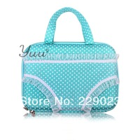 Free Shipping Underpants case Underpants Handbag for Travel Portable Light green with white dots wholesale