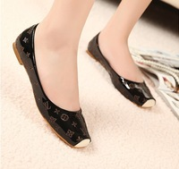 2013 autumn brand print boat shoes for women patent leather flats shoes casual shoes 40,41,42