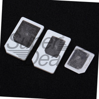 1 pcs 3 Adapters For nano SIM for Micro Standard Card Adapter Tray Holder For iPhone 5 FreeShipping Brand New
