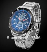 Weide men's  sports  waterproof watch special multifunctional military  watch dual display stainless steel watch 1103