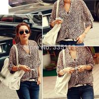 2014 New Summer Fashion Women Ladies Casual Shirt Loose Slim Fit Long Sleeve Leopard Chiffon Blouse Shirt 4 Sizes