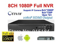 Free shipping DHL!8CH Full 1080P HD NVR Security System Support 8ch Onvif IP Camera,1080P HDMI Output nvr recorder