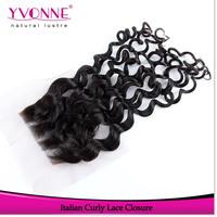 Virgin Peruvian Hair Closure,Italian Curly Human Hair Lace Closure 4x4,10-20 Inches Aliexpress Yvonne Hair Products,Color 1B