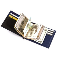 Free shipping 2013 fashion style black Genuine Italian vegetable cow leather money clips men wallet MT-MC-13026