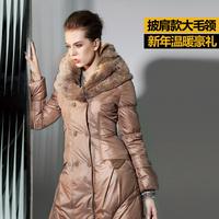 Christmas promotion 2013 women's winter down outerwear female medium-long down coat large fur collar