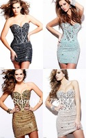 Sexy Bling Custom Made Short Cocktail Dresses Sweetheart Crystals Bodice Beading Lace-Up Back Blue Gold Green Champagne Black