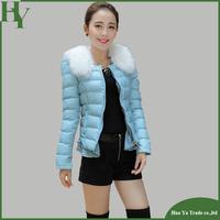 J008 Women Winter Short Jacket 2013 New Fashion Slim Ruffle Candy Color Women's Wadded Parka Fur Collar