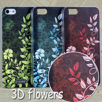 10pcs designer For iphone 5 5S case 3D Vintage flower style unique design, free shipping