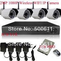Free Shipping Onvif 1080P Full HD Network Wifi Wireless IP Camera 48IR Outdoor CCTV Camera H.264 8CH NVR CCTV System 2TB HDD