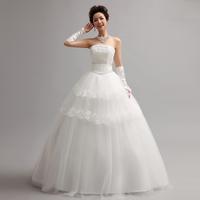 Free Shipping New 2014 Sweet Princess  Lace And Rhinestone Decoration  bride Tube Top Wedding Dress MZY