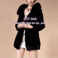 BG29382  New Arrival Genuine Women Full Pelt Rabbit  Fur Coat With Fox Fur Collar Wholesale Women Real Rabbit Fur Coat