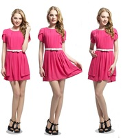 Freeshipping europe and american Womens Lady fashion Dress with belt+drop shipping