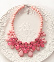 Candy-Coated Floral Bib Necklace Fashion Statement Choker Necklace BJN99400