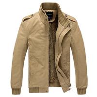 Men's Winter Jacket Turn-down Collar Slim Style Casual Jacket 2 Colors M-XXXL Lining Warm Outwear  WholeSale MWJ193