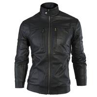 Hot Sale JOGAL Winter Men's PU Leather Moto Slim Jacket And Coat Men Stand Collar European Zip Closure Free Shiping