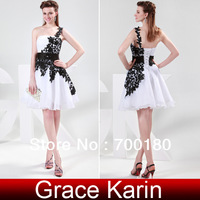 New Pretty White And Black Lace Prom Party  Gown Short Evening Dress Top Sale Organza Formal Evening Gown CL4288