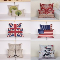 Free shipping high quality linen invisible zipper vintage sofa cushion cover& Lumbar cover set (2PCS/SET) 30*50cm / 45*45cm