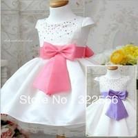 Baby girl bow belt white princess dress children dress girl sleeveless crystal Autumn fashion party dress