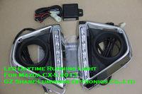 2013 High Quality Mazda CX-5 DRL Led Daytime Running Light E4 Emark 100% Reduce Light Function Chromed Frame Free Shipping