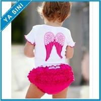 2013 Hot selling Cute baby girl suit/white short sleeves with the wing+pp pants/summer hot selling