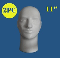 "2PCS-case pack-11"" Male man styrofoam mannequin manikin head foam head wig/necklace/hat/cap/glasses/microphone display JG"