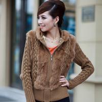2014 new winter women fur coat rabbit fur sweater yarn shirt hooded fur outerwear Y2P4