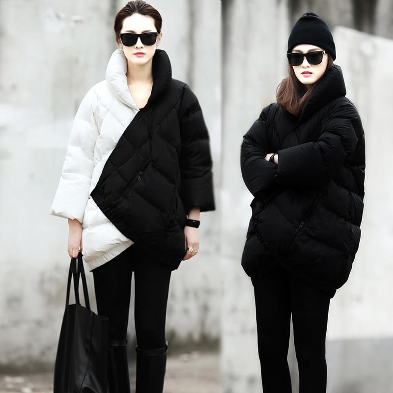 2013 New moda inverno via di progettazione nero bianco patchwork anitra spessi calda donne piumino in piuma cappotto spedizione gratuita