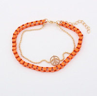 Min.order is $15 (mix order) European and American fashion alloy weave peace sign bracelet