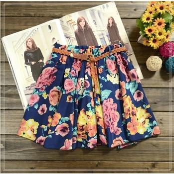 2014 новый юбка женская горячая распродажа, 26 цветов плиссированные цветочные шифон женская симпатичные ремень включают