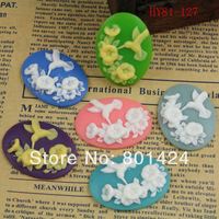 free shipping 81-127 10piece hummingbird style flat back Resin Cab Cabochon for craft accessories cameo setting