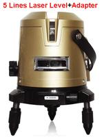 Laser Level+Adapter FREE SHIPPING 5 lines laser level hilti horizon vertical measure laser free cross line measuring tape laser